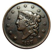 Large Cent/penny 1837 Newcomb 2 Die Break Choice High Grade