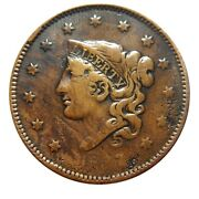 Large Cent/penny 1837 Newcomb 17 Rare Type Late Die State Cud