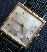 Vintage Longines Champagne Checker Board Dual Tone Dial, New Band And Orig Box.