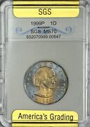 1999 P Susan B. Anthony Dollar In Uncirculated Condition - Obverse Toning