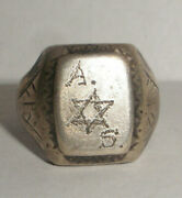 Rare Vintage Sterling Silver Judaica David Star Wwii Soldier Or Ghetto Ring S 10