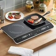 Portable Ceramic Tabletop Electric Cooking Hob W/ 180 Minute Timer And Led Display