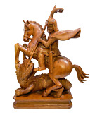 Wood Hand Made Sculpture Saint George Slaying The Dragon 38.58 Inch