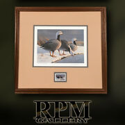 First Of State Migrating Duck Print And Stamp In Wooden Frame - 1985 Alaska