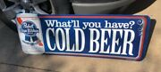 Pabst Blue Ribbon Cold Beer Metal Tin Beer Sign Large 40 X 15 New