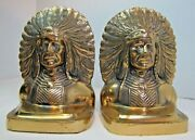 Native American Indian Chief Wd Allen Chicago Usa Ornate Brass Antique Bookends