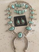 Sterling Silver Turquoise Squash Blossom Set By Navajo Silversmith Jeanette Dale