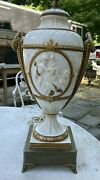 Vintage Antique Victorian Gilt Decorated Porcelain Table Lamp With Putti