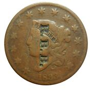 Large Cent/penny Counterstamped 1833 Newcomb 2 Host