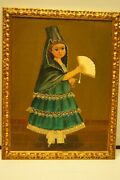 Agapito Labios Oil On Canvas Of A Young Girl Holding A Fan