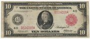 Large Size Note 1914 Frn 10 Red Seal Ten Dollar Bill Rare F-895a Nice Shape