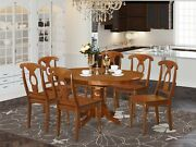 7pc Avon Oval Dinette Kitchen Dining Set Table With 6 Wood Chairs Saddle Brown