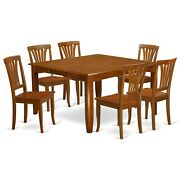 7pc Dining Set Parfait Square Table With 6 Avon Wood Seat Chairs In Saddle Brown