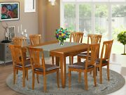 9pc Dining Set Parfait Square Table With 8 Avon Leather Chairs In Saddle Brown