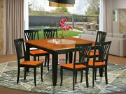7pc Dining Set Parfait Square Table + 6 Avon Wood Chairs In Cherry Black Finish