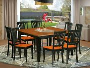 9pc Dining Set Parfait Square Table + 8 Avon Wood Chairs In Cherry Black Finish