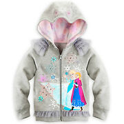 Disney Store Frozen Anna And Elsa Hoodie For Girls Glittering Tulle Ruffle Sz 7/86