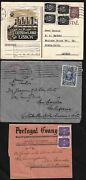 Portugal 1940s Three Items One Postal Card To Acores Letter And Wrapper To Us