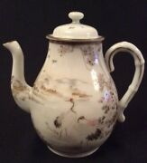 Beautiful Oriental Japanese Antique Hand Painted Teapot Marked To Base