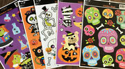 Halloween Window Clings Lot Of 5 Pages 48 Clings Witches Skulls Skeletons