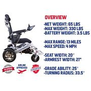 Culver Fold And Travel Motorized Electric Power Wheelchair Max Weight 360lb