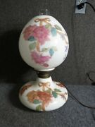 Antique Gone With The Wind Lamp Decorated With Roses And Ribbon Bow