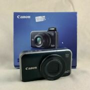 Black Canon Powershot Sx210 Is With Strap A/c Charger Battery Iob