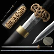Double Dragon Octahedral Han Sword Pattern Steel Blade Pure Copper Fittings 093