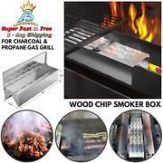Wood Chip Stainless Smoker Box Wavy Smoke Outlet For Charcoal Propane Gas Grill