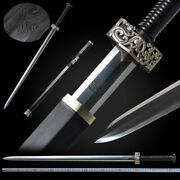 Silver Dragon Octahedral Han Sword Pattern Steel Blade Pure Copper Fittings 096
