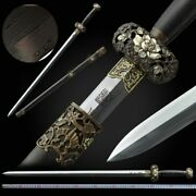 Riches And Honour Sword Pattern Steel Blade Sharp Hand Carved Copper Fittings099
