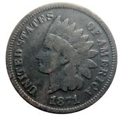Indian Head Cent/penny 1871 Snow-2 Rare 71 Touch
