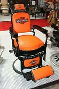 1930and039s Koken Antique Barber Chair Harley Davidson Themed