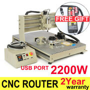 Usb 4 Axis Cnc 6090 Router Engraver 3d Carving Drilling Machine 2.2kw Cutting Us