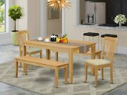 5pc Capri Dinette Kitchen Dining Table + 2 Benches + 2 Avon Padded Chairs In Oak
