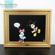 Extremely Rare 3d Painting Of Mickey And Minnie Mouse ''what A Kiss'' Disney