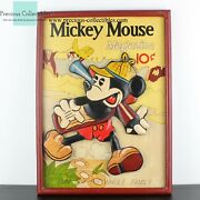 Extremely Rare Walt Disney Mickey Mouse Magazine Old Big 3d Art Wooden Piece