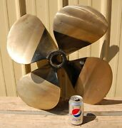 24 Four 4 Blade Brass Ship Boat Propeller W/ 2 Shaft Opening Weighs 50 Lbs