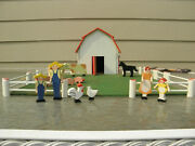 Vintage Wood Toy Barn With Farm Animals, Farmer And Family, Fencing And Pasture