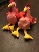 2 Ty Beanie Babies 1996 Strut And Doodle Tie Dye Roosters Pvc Rare Errors