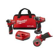 Milwaukee 12 V Cordless Hammer Drill Impact Driver Cut Off Saw Combo Kit 3 Tool