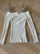 Sandro Long Sleeve Top Knit White Size 1