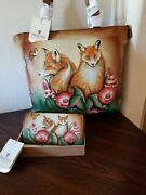 Anuschka Curious Foxes Large Zip Top Tote W/wallet Nwt