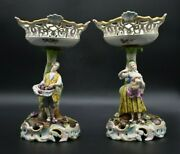2 Carl Thieme Dresden German Hand Painted Reticulated 10 1/4 Figural Compotes