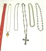 Vintage And Old Jewelry Necklaces 1997 Class Key Crucifix With Pink/purple Stones