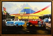 Stanand039s Diner / Fifties Classic Framed Lithograph By Stan Stokes