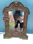 Antique Ornate Gold/brass Mirror Faces Neptune Grapes Signed Paint Cold 17 X12