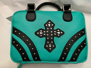 Divinity Boutique Bible Cover Medium Teal/black Purse-like Carrier. Item 22446