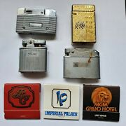 4 Lighters And 3 1960and039s Las Vegas Matchbooks - Ronson Pocket Lighter Pat No 19023