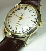 Elgin Manual Winding 24 Hour Vintage Watch 14kgf 1950and039s 31.5mm 19jewels
